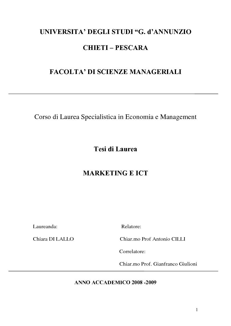 Anteprima della tesi: Marketing e ICT, Pagina 1