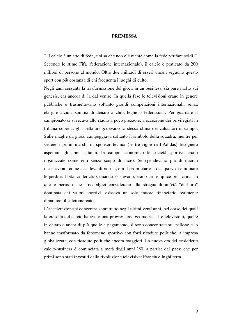 Anteprima della tesi: Calcio e Tv, tra affari e potere, Pagina 1