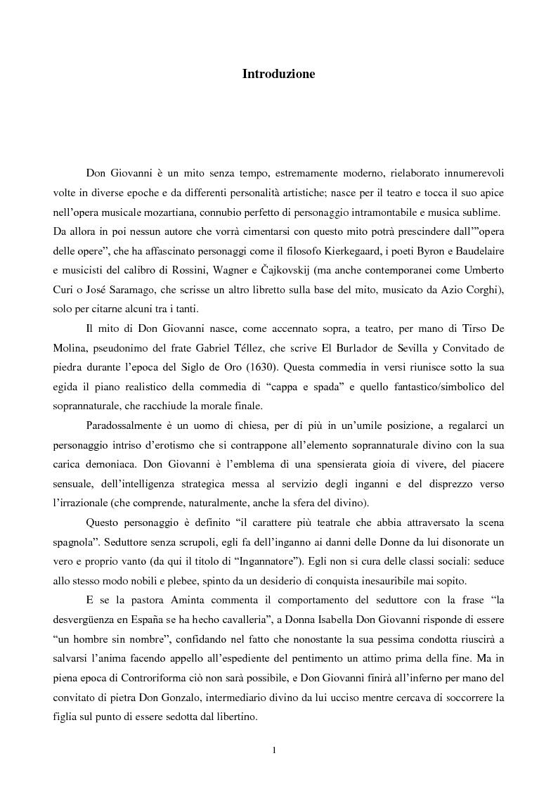 Anteprima della tesi: Il mito di Don Giovanni tra arte e psicanalisi, Pagina 1