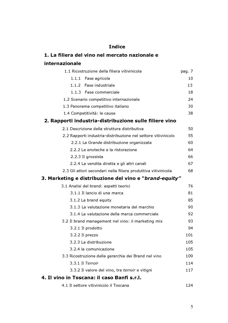 Indice della tesi: Strategie e politiche distributive e di branding tra terroir e imprese nella filiera vitivinicola: il caso Castello Banfi in Toscana, Pagina 1