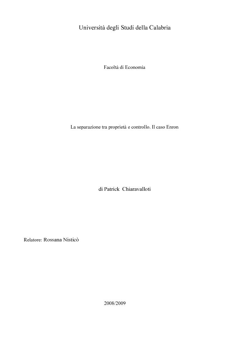 Anteprima della tesi: La separazione tra proprietà e controllo. Il caso Enron., Pagina 1