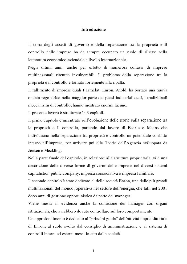 Anteprima della tesi: La separazione tra proprietà e controllo. Il caso Enron., Pagina 2