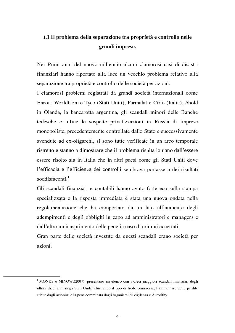 Anteprima della tesi: La separazione tra proprietà e controllo. Il caso Enron., Pagina 5