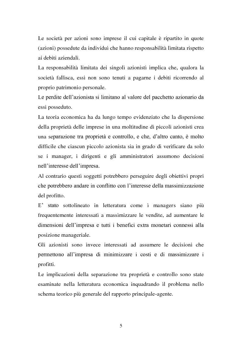 Anteprima della tesi: La separazione tra proprietà e controllo. Il caso Enron., Pagina 6
