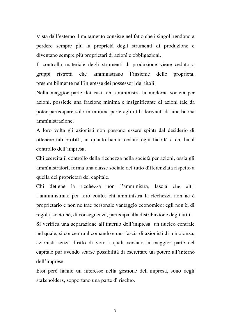 Anteprima della tesi: La separazione tra proprietà e controllo. Il caso Enron., Pagina 8