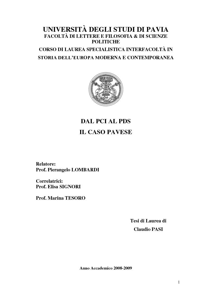 Anteprima della tesi: Dal PCI al PDS. Il caso pavese, Pagina 1