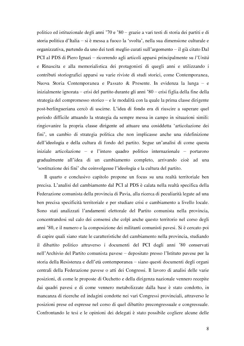 Anteprima della tesi: Dal PCI al PDS. Il caso pavese, Pagina 6