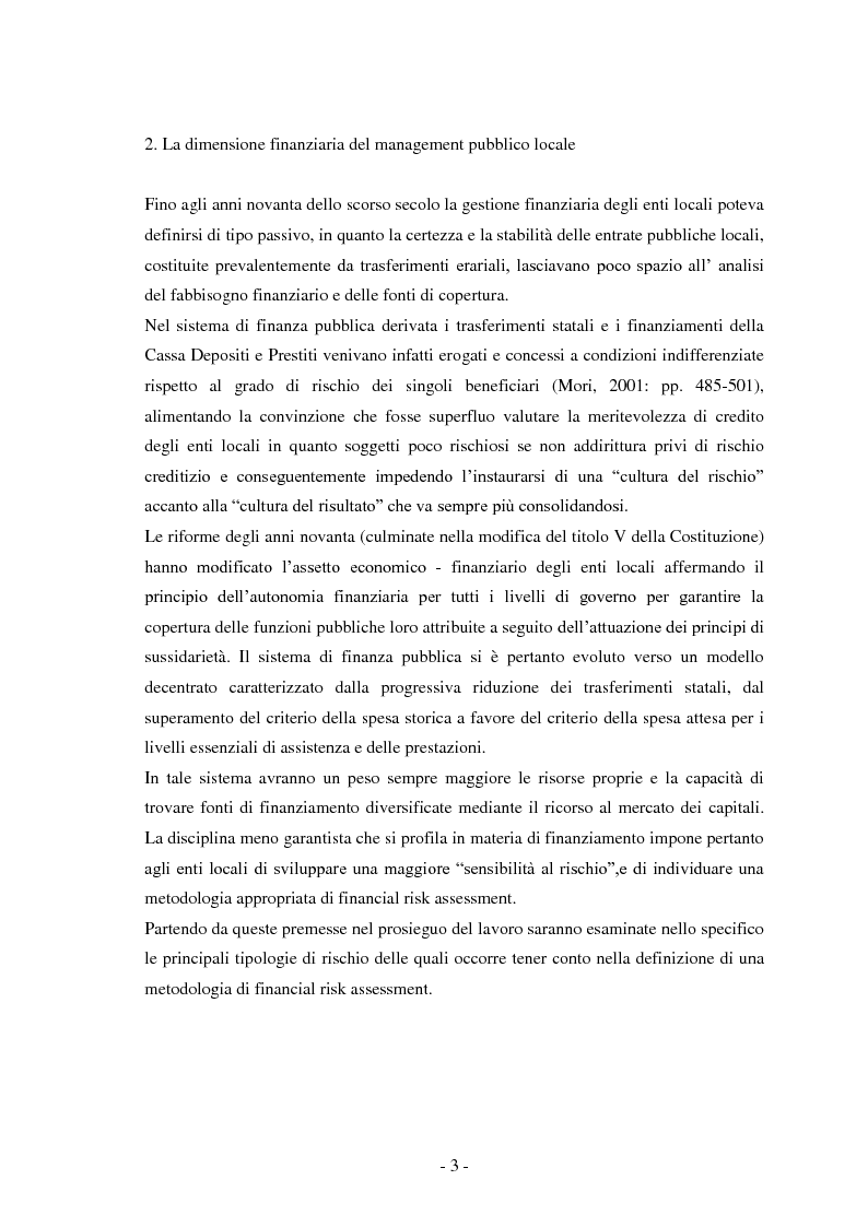 Anteprima della tesi: La misurazione del rischio finanziario degli enti locali, Pagina 1