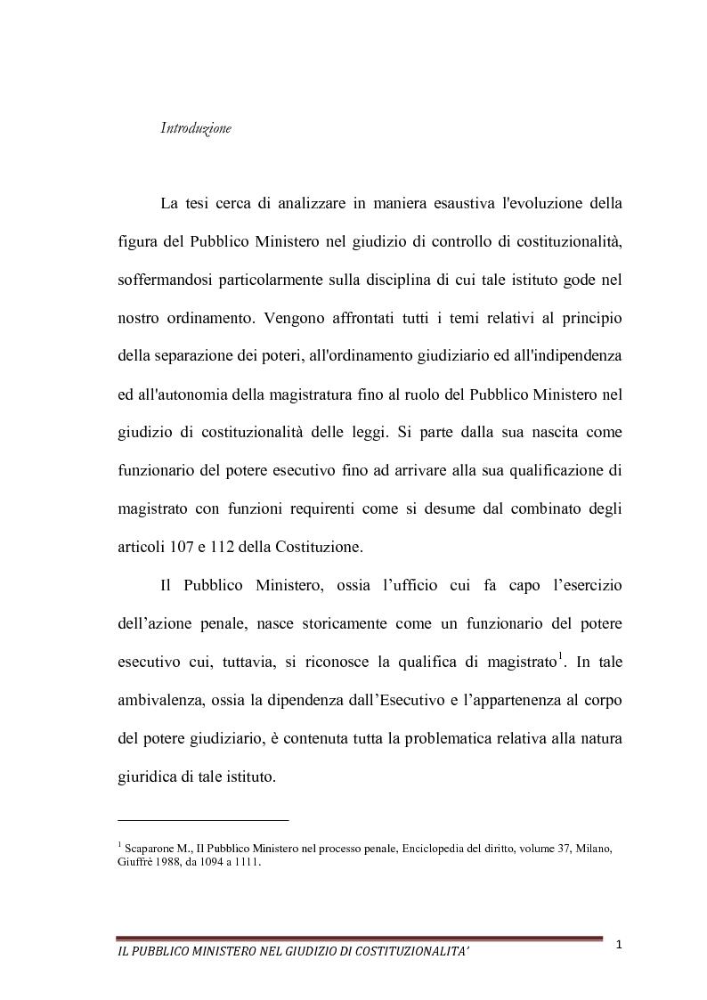 Anteprima della tesi: Il Pubblico Ministero nel giudizio di costituzionalità, Pagina 1