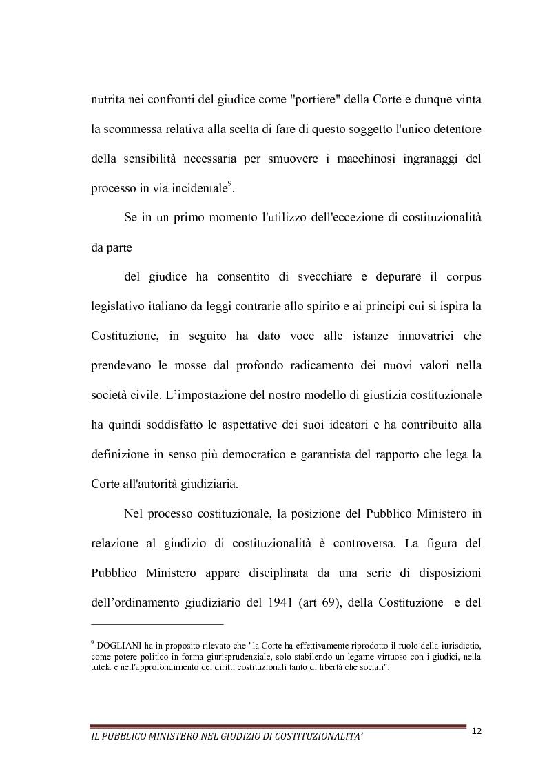 Anteprima della tesi: Il Pubblico Ministero nel giudizio di costituzionalità, Pagina 12