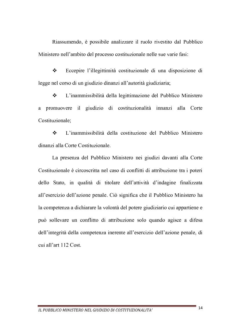 Anteprima della tesi: Il Pubblico Ministero nel giudizio di costituzionalità, Pagina 14