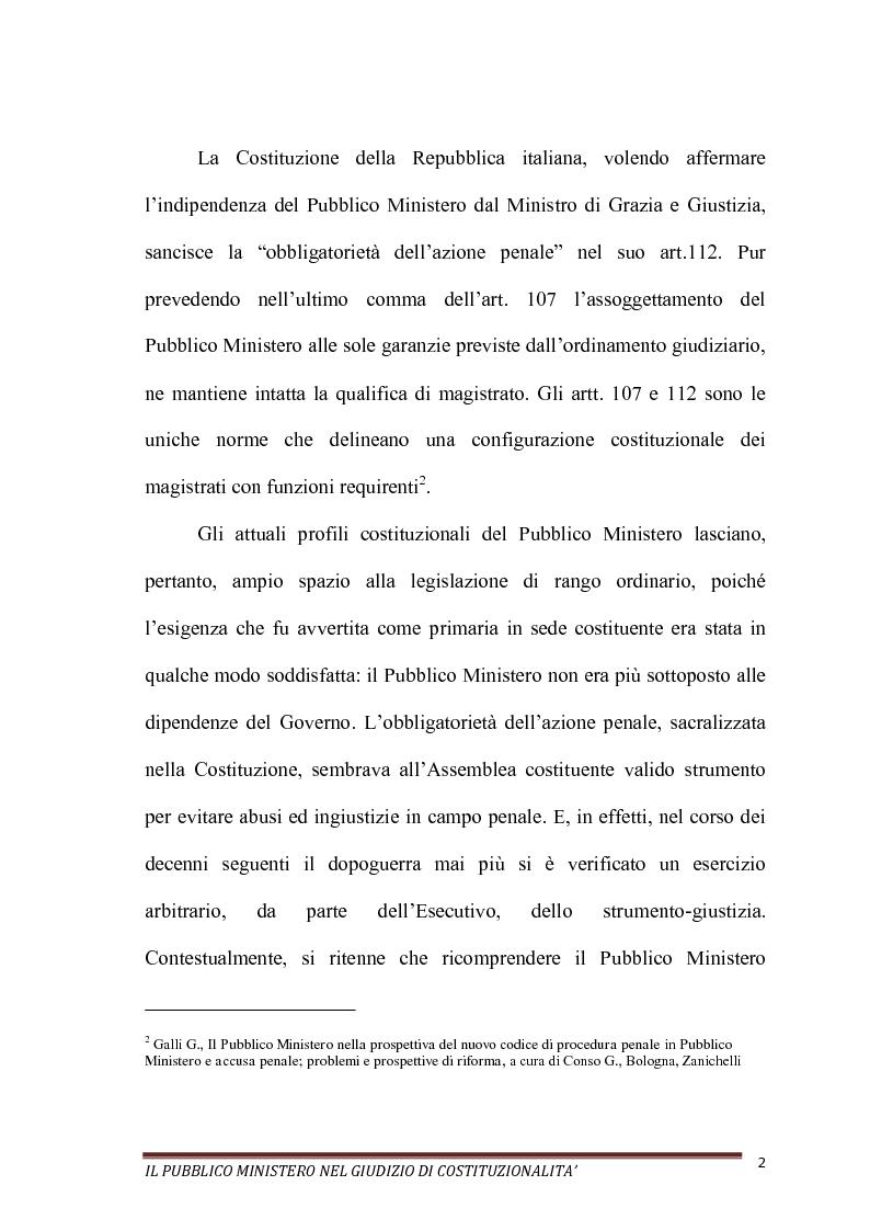 Anteprima della tesi: Il Pubblico Ministero nel giudizio di costituzionalità, Pagina 2