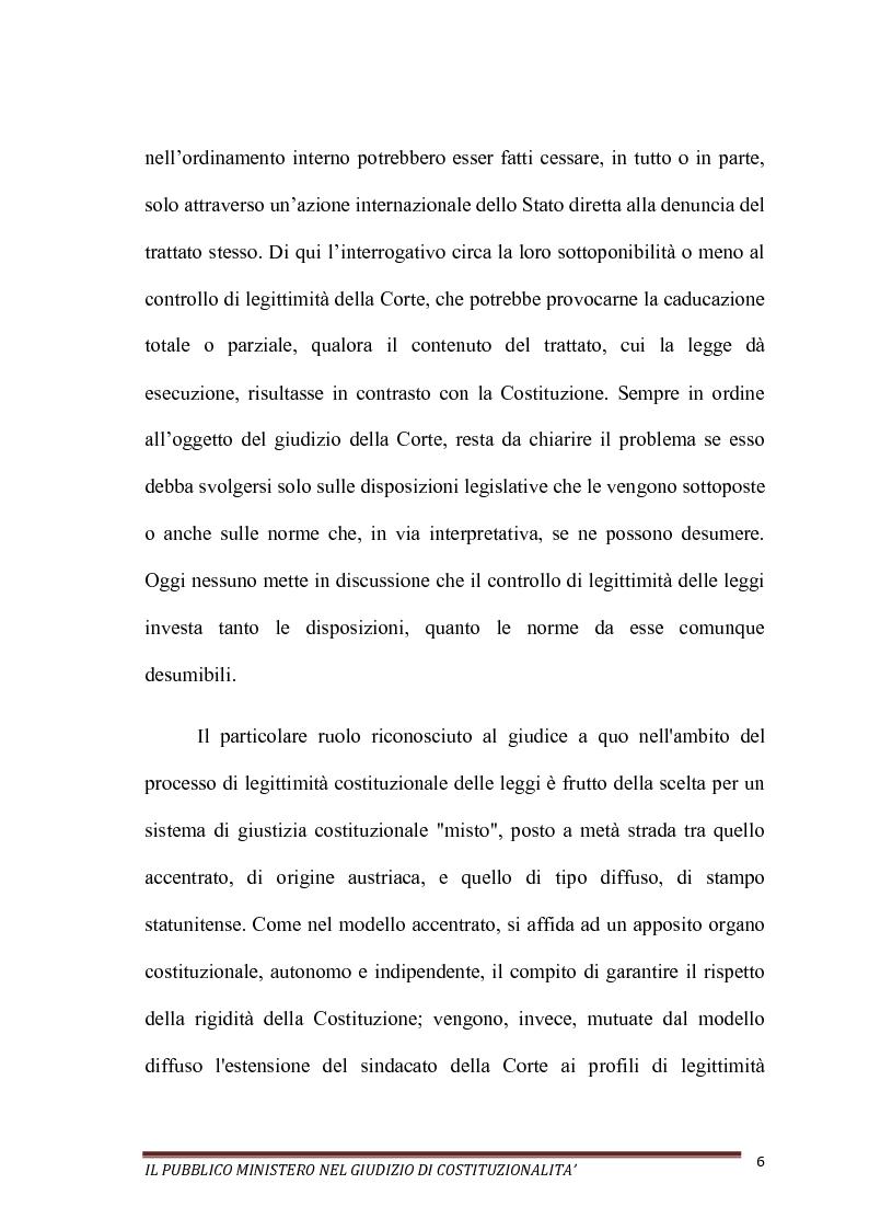 Anteprima della tesi: Il Pubblico Ministero nel giudizio di costituzionalità, Pagina 6