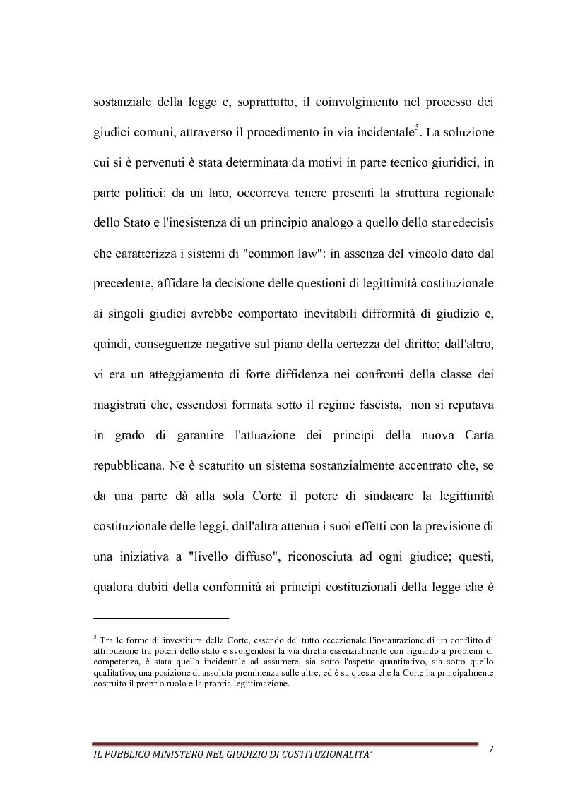 Anteprima della tesi: Il Pubblico Ministero nel giudizio di costituzionalità, Pagina 7