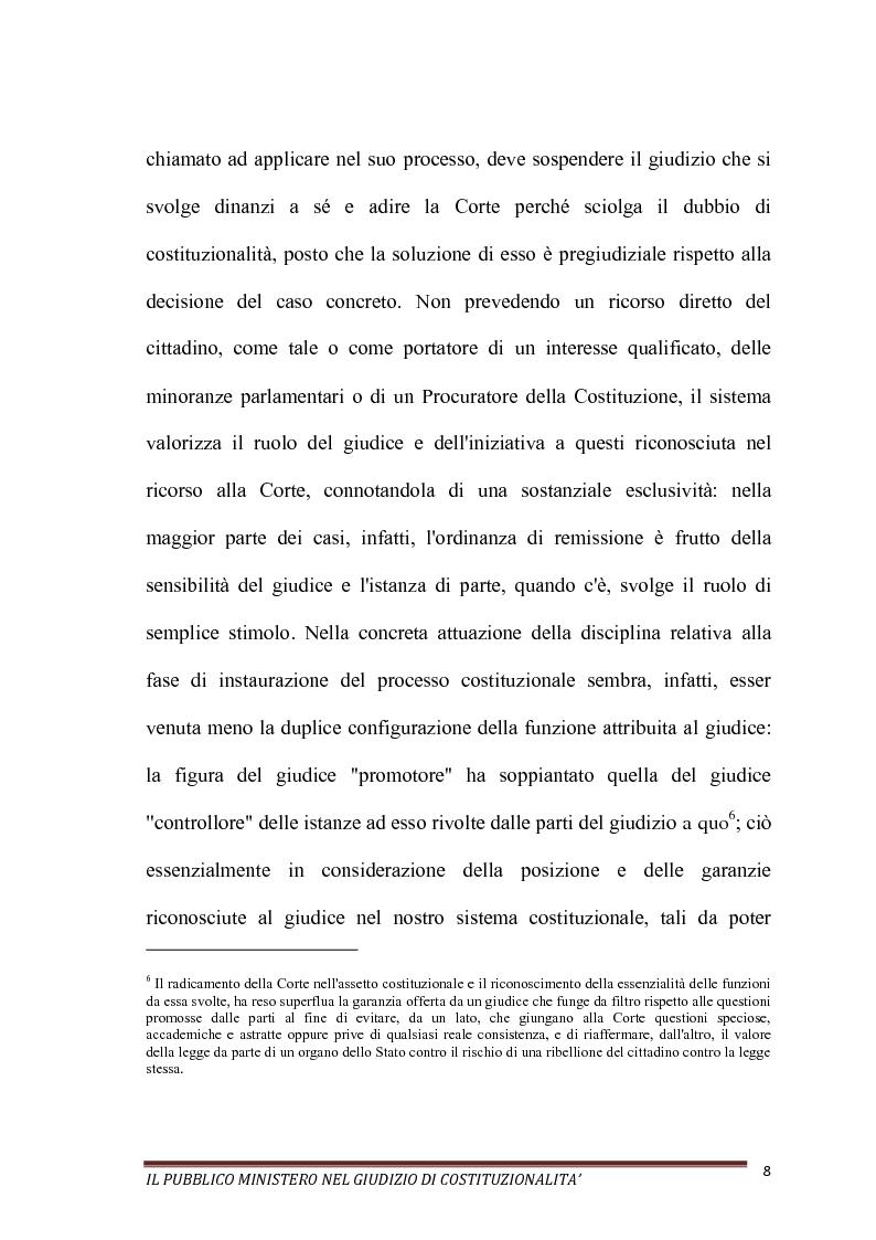 Anteprima della tesi: Il Pubblico Ministero nel giudizio di costituzionalità, Pagina 8