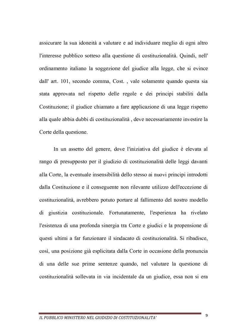Anteprima della tesi: Il Pubblico Ministero nel giudizio di costituzionalità, Pagina 9