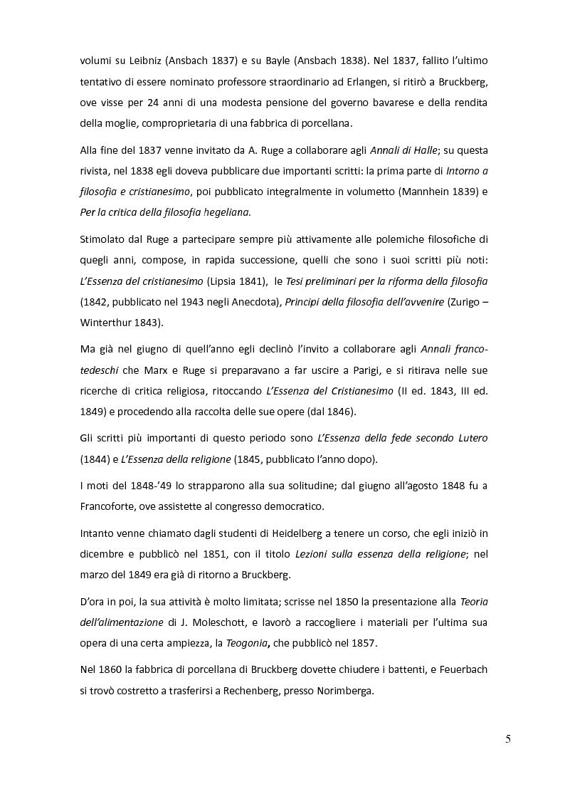 Anteprima della tesi: Teologia e antropologia nell'Essenza del cristianesimo di Ludwig Feuerbach, Pagina 2