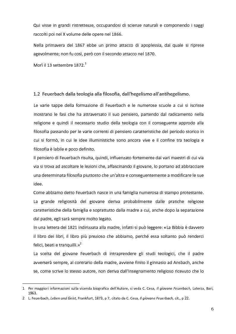 Anteprima della tesi: Teologia e antropologia nell'Essenza del cristianesimo di Ludwig Feuerbach, Pagina 3