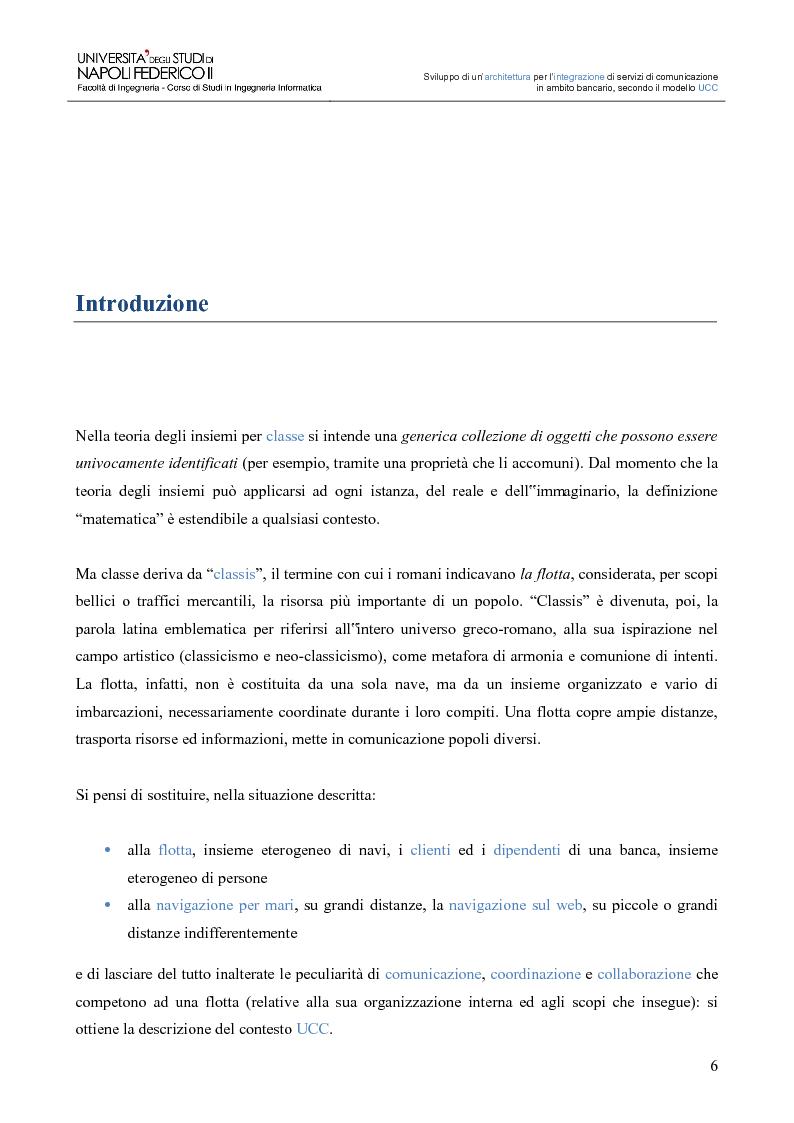 Anteprima della tesi: Sviluppo di un'architettura per l'integrazione di servizi di comunicazione in ambito bancario, secondo il modello UCC, Pagina 1