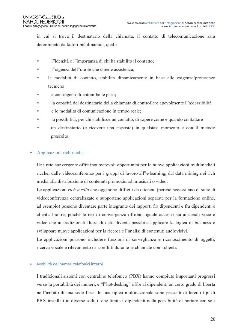 Anteprima della tesi: Sviluppo di un'architettura per l'integrazione di servizi di comunicazione in ambito bancario, secondo il modello UCC, Pagina 15