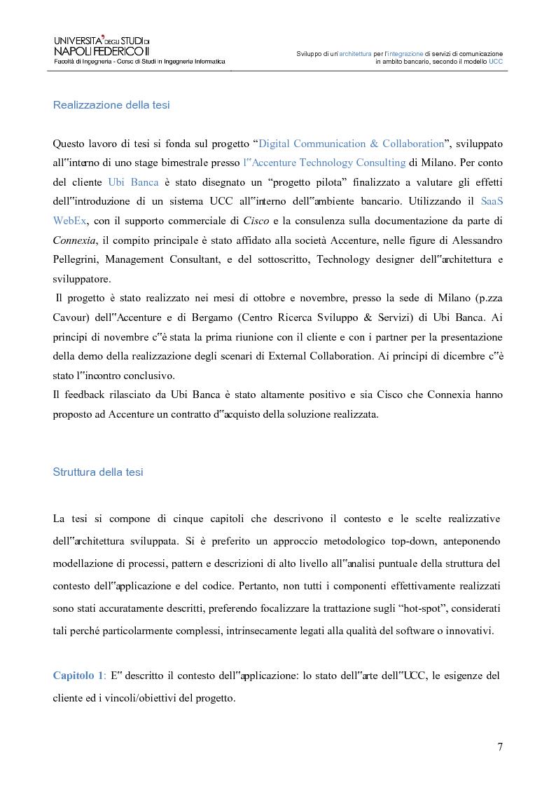 Anteprima della tesi: Sviluppo di un'architettura per l'integrazione di servizi di comunicazione in ambito bancario, secondo il modello UCC, Pagina 2