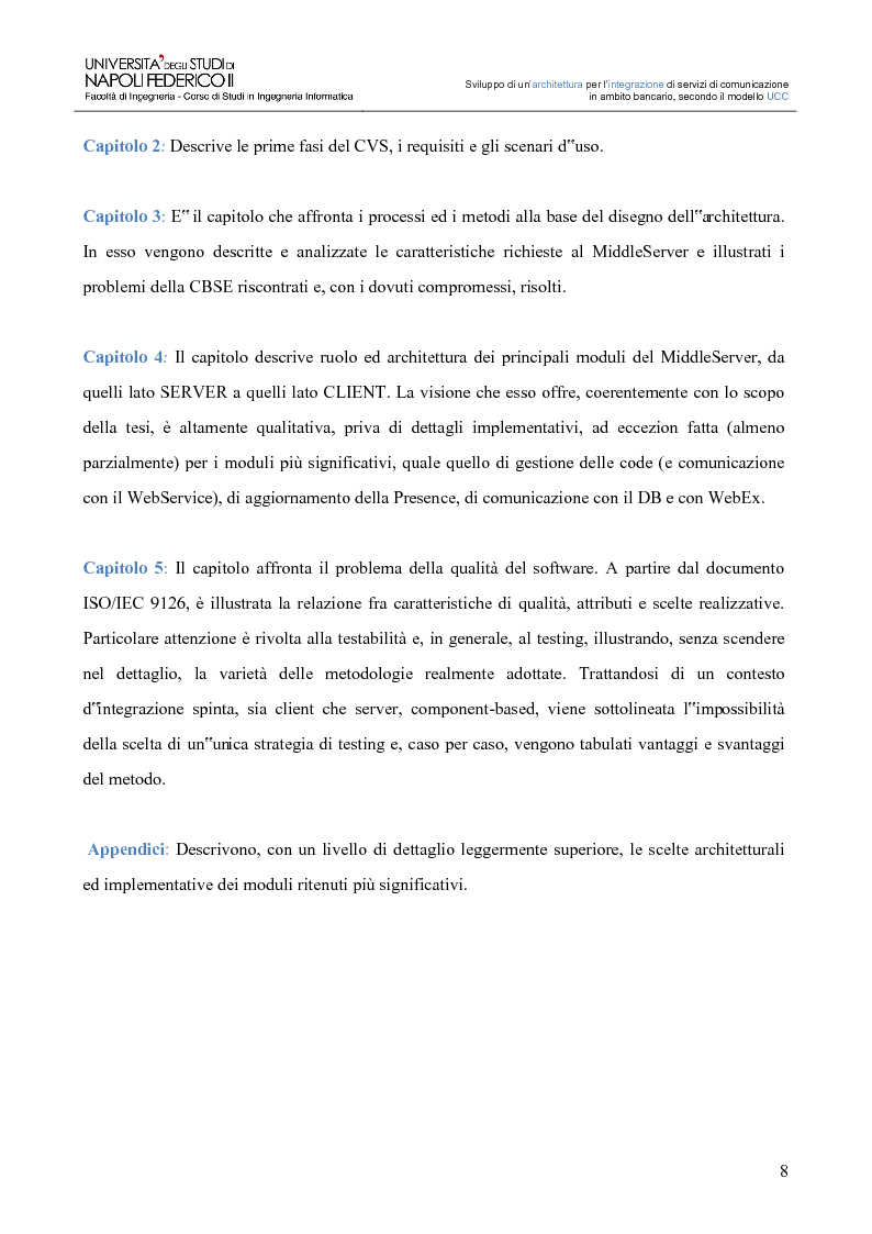 Anteprima della tesi: Sviluppo di un'architettura per l'integrazione di servizi di comunicazione in ambito bancario, secondo il modello UCC, Pagina 3