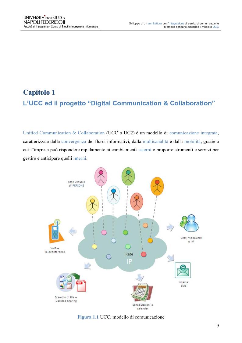 Anteprima della tesi: Sviluppo di un'architettura per l'integrazione di servizi di comunicazione in ambito bancario, secondo il modello UCC, Pagina 4