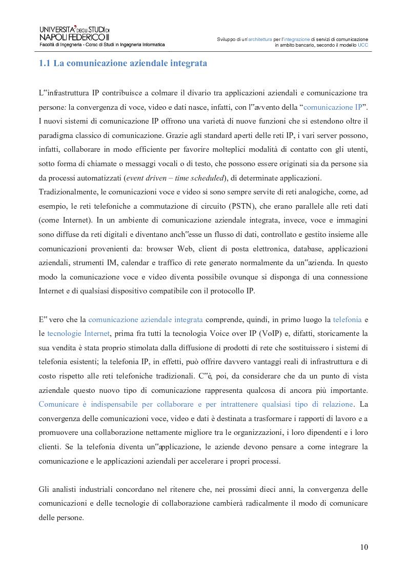 Anteprima della tesi: Sviluppo di un'architettura per l'integrazione di servizi di comunicazione in ambito bancario, secondo il modello UCC, Pagina 5