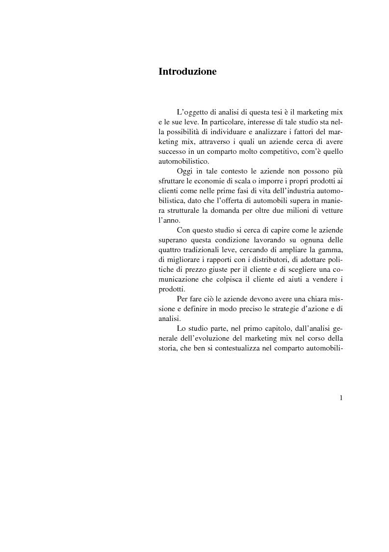 Anteprima della tesi: Il marketing mix nel comparto automobilistico. L'analisi del case study Fiat., Pagina 1