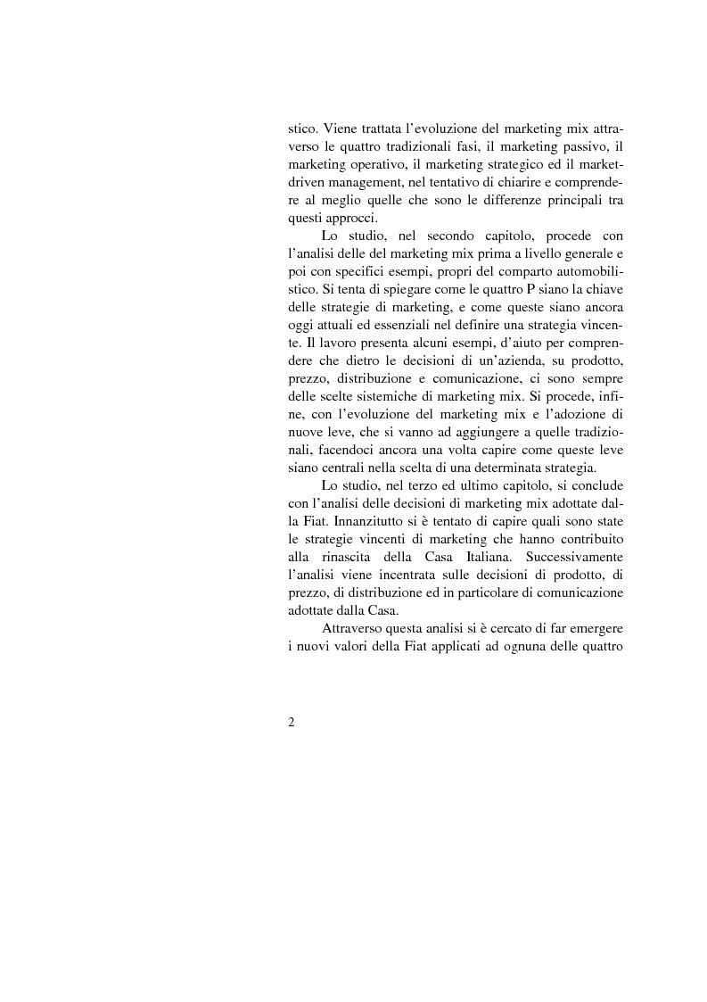 Anteprima della tesi: Il marketing mix nel comparto automobilistico. L'analisi del case study Fiat., Pagina 2