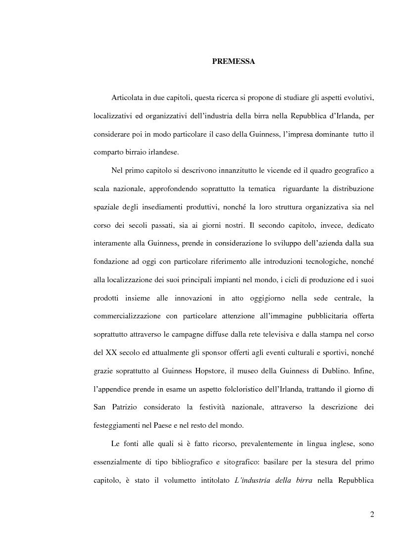 Anteprima della tesi: L'industria della birra nella Repubblica d'Irlanda con particolare riferimento al caso Guinness, Pagina 1