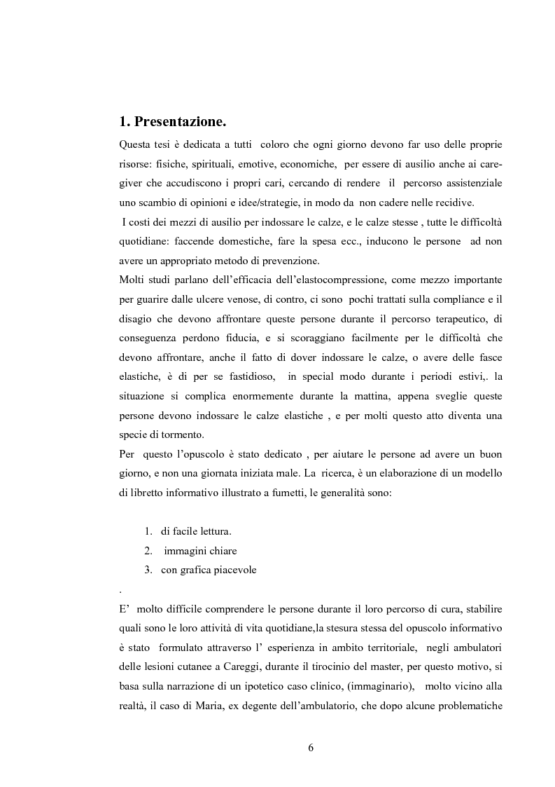 Anteprima della tesi: Elaborazione di una guida informativa illustrata a fumetti per educare le persone a prevenire le recidivedelle ulcere venose agli arti inferiori, Pagina 1