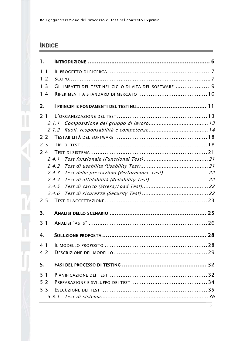Indice della tesi: Reingegnerizzazione del processo di test nel contesto Exprivia, Pagina 1