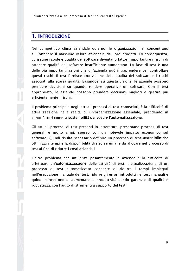 Anteprima della tesi: Reingegnerizzazione del processo di test nel contesto Exprivia, Pagina 1