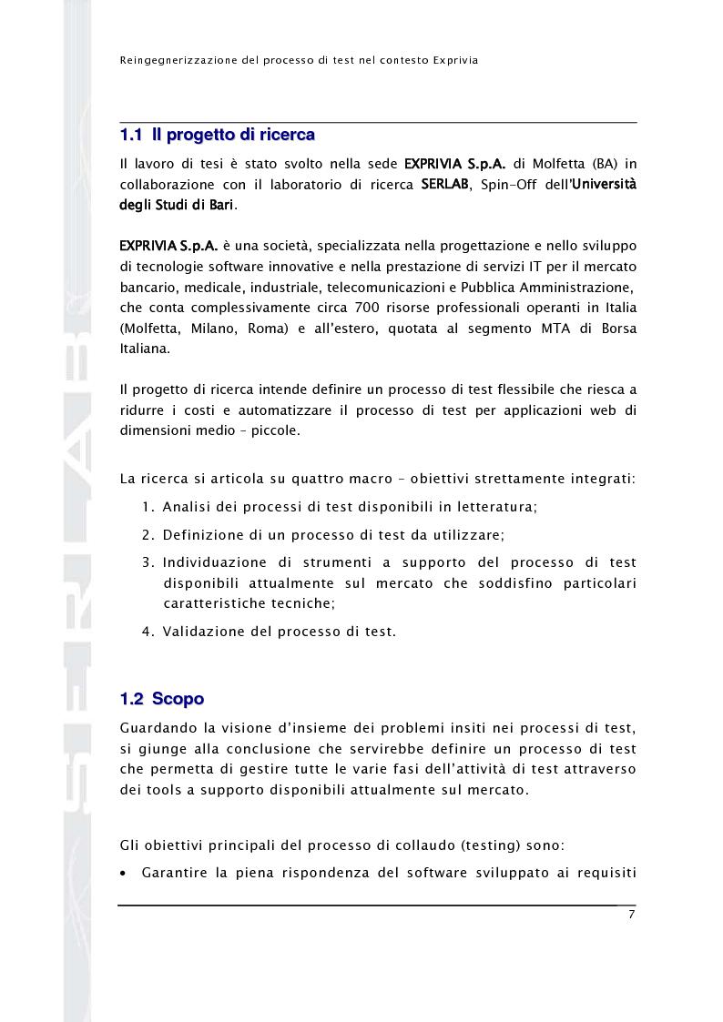 Anteprima della tesi: Reingegnerizzazione del processo di test nel contesto Exprivia, Pagina 2