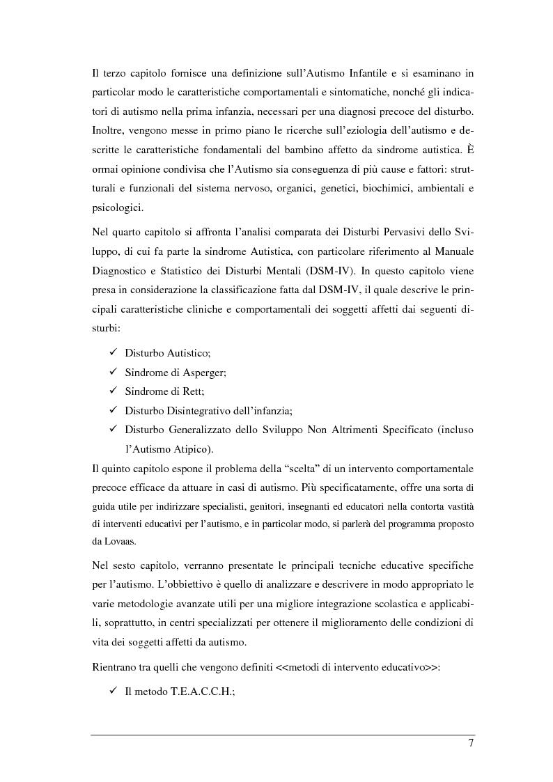 Anteprima della tesi: L'autismo infantile: intervento comportamentale precoce e integrazione scolastica per il bambino autistico e/o con disturbo pervasivo dello sviluppo, Pagina 3