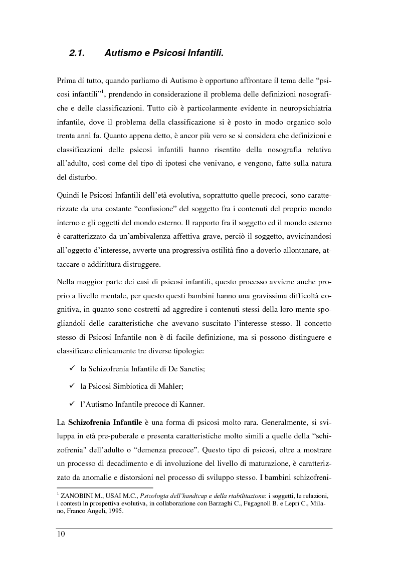 Anteprima della tesi: L'autismo infantile: intervento comportamentale precoce e integrazione scolastica per il bambino autistico e/o con disturbo pervasivo dello sviluppo, Pagina 6