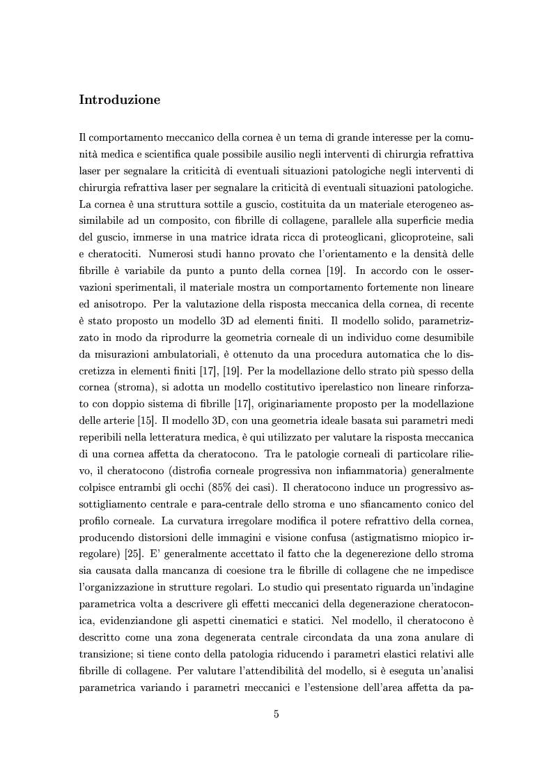 Anteprima della tesi: Un modello numerico per il comportamento meccanico della cornea affetta da cheratocono, Pagina 1