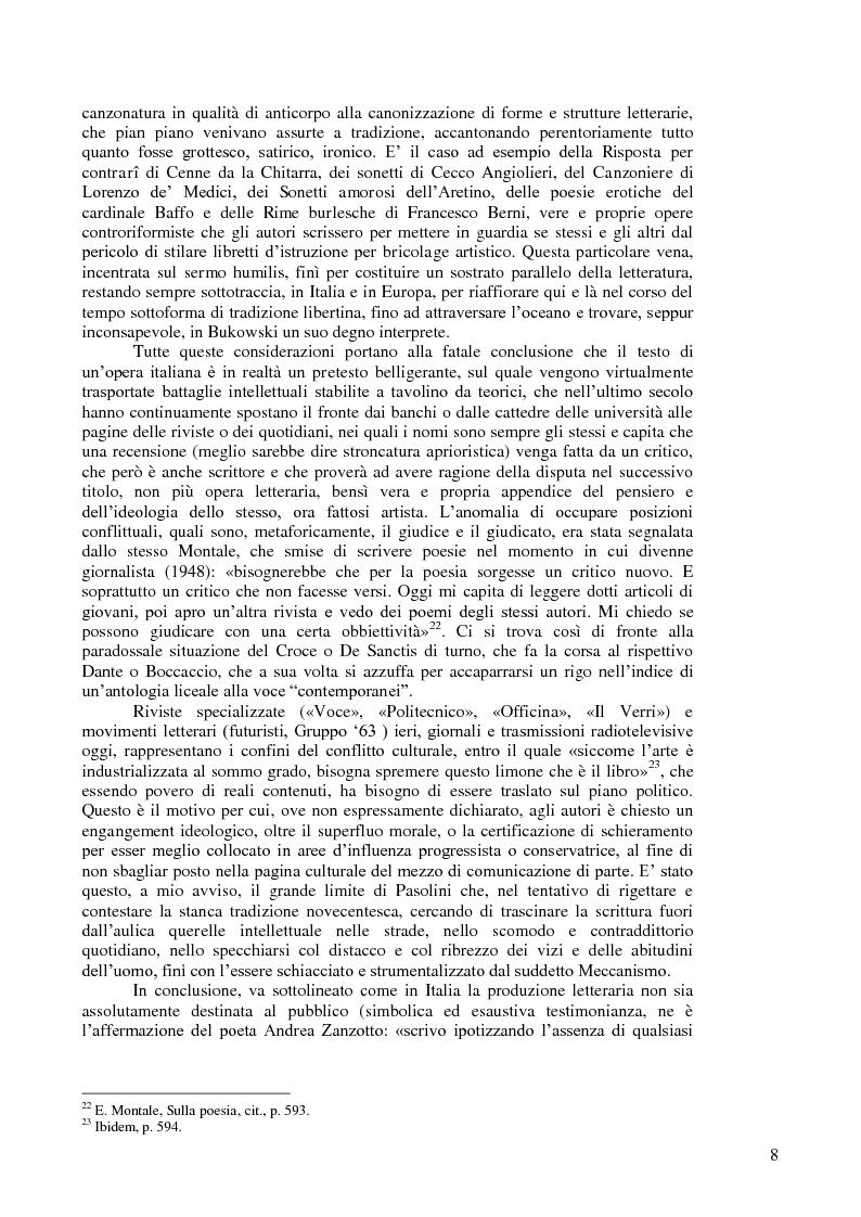 Anteprima della tesi: Ultimo viene il poeta. La mancata influenza di Henry Charles Bukowski Jr. in Italia., Pagina 4