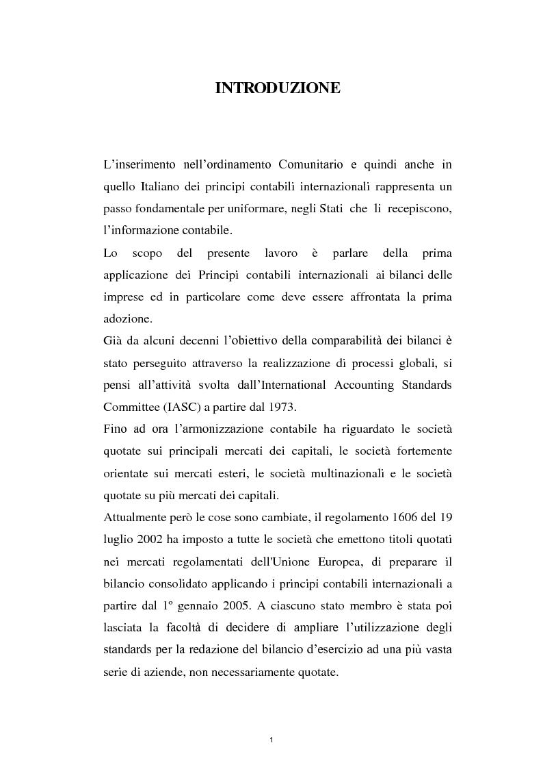 Anteprima della tesi: La prima adozione degli IAS/IFRS, Pagina 1
