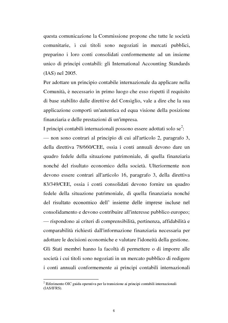Anteprima della tesi: La prima adozione degli IAS/IFRS, Pagina 6