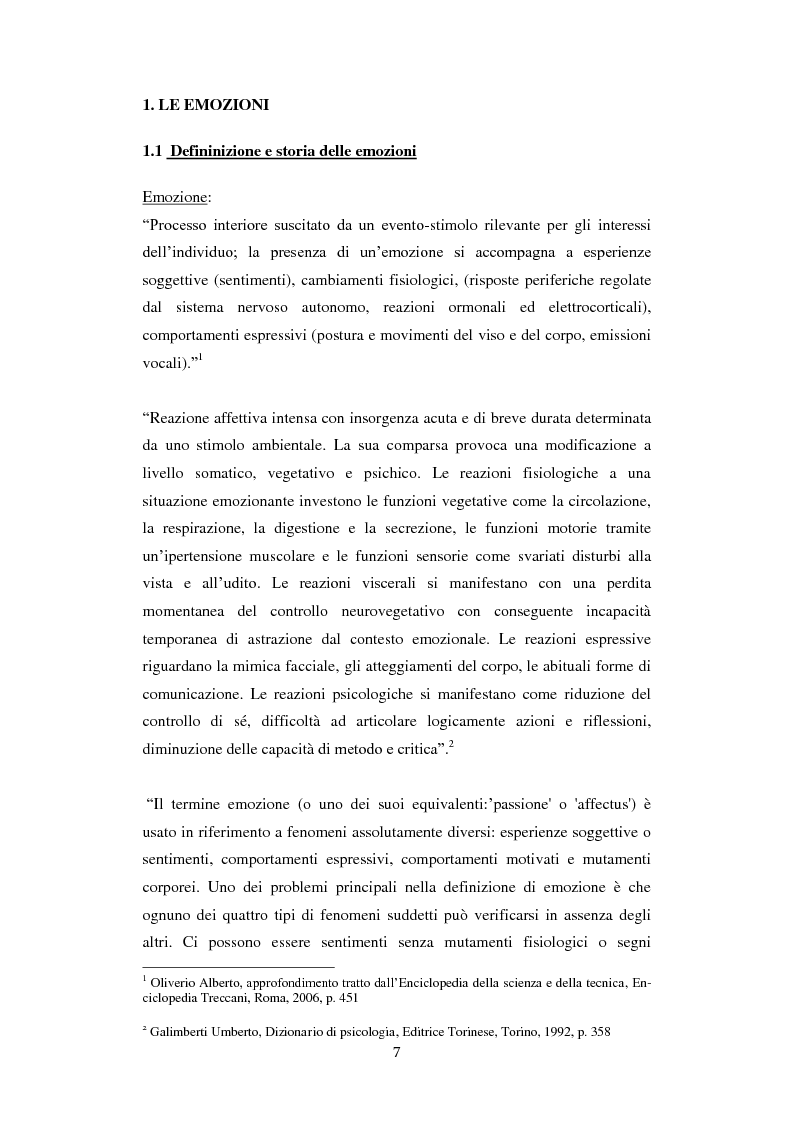 Anteprima della tesi: Emozioni e comunicazione: le espressioni del volto, Pagina 1