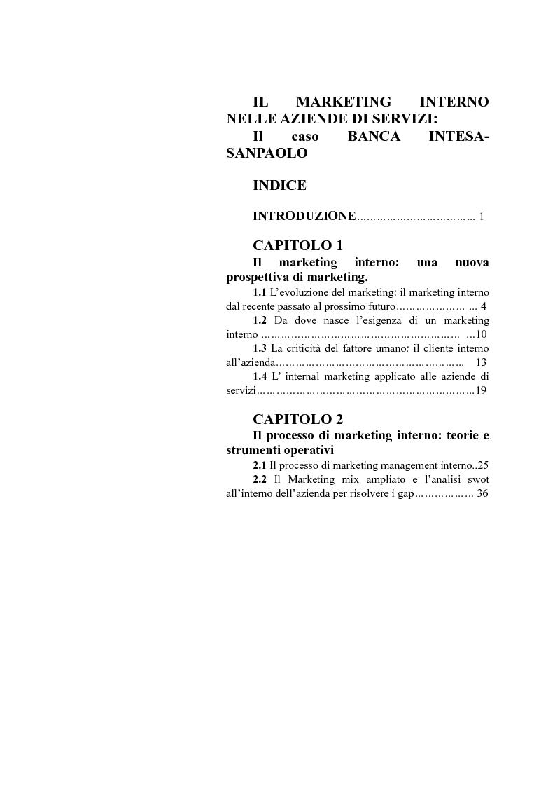 Indice della tesi: Il marketing interno nelle aziende di servizi: il caso Banca Intesa-Sanpaolo, Pagina 1