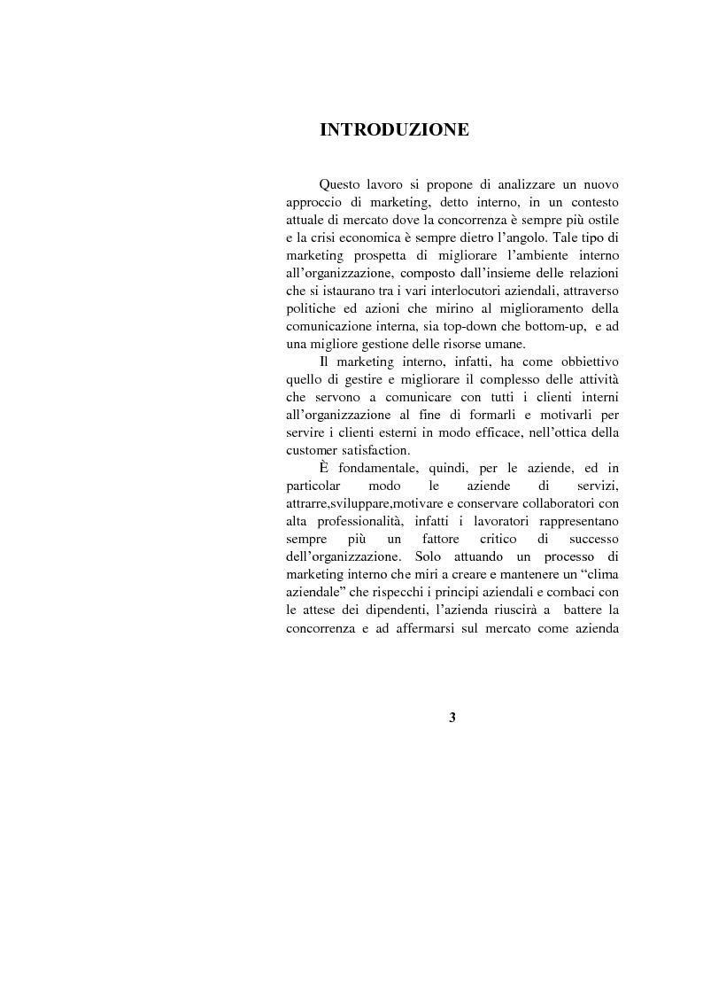 Anteprima della tesi: Il marketing interno nelle aziende di servizi: il caso Banca Intesa-Sanpaolo, Pagina 1