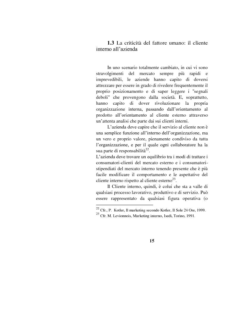 Anteprima della tesi: Il marketing interno nelle aziende di servizi: il caso Banca Intesa-Sanpaolo, Pagina 13