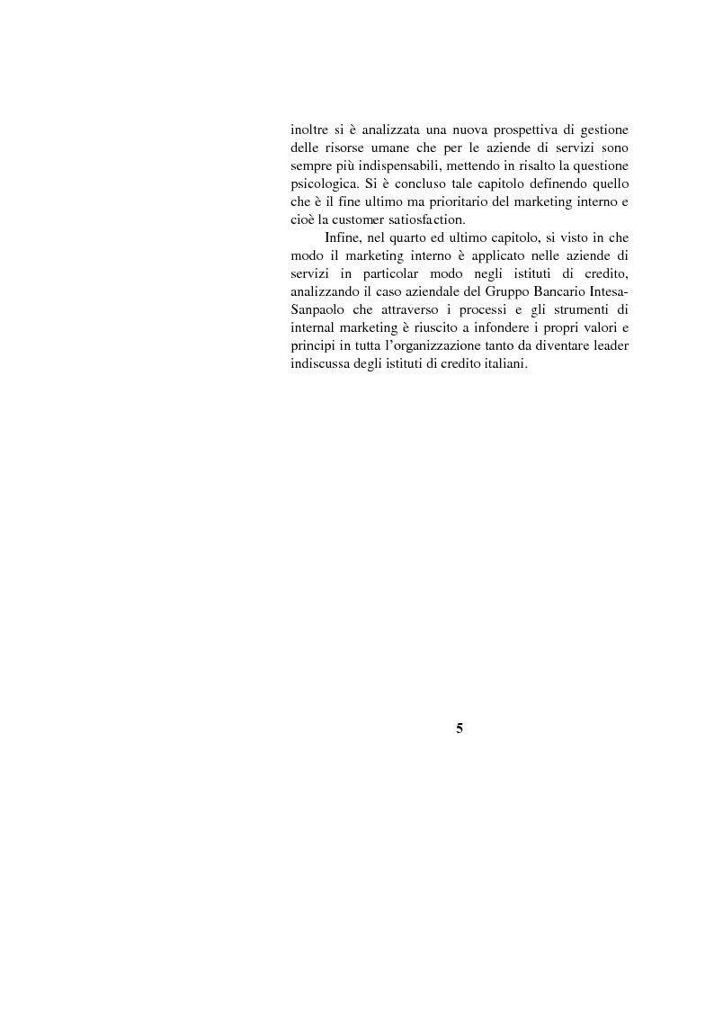 Anteprima della tesi: Il marketing interno nelle aziende di servizi: il caso Banca Intesa-Sanpaolo, Pagina 3