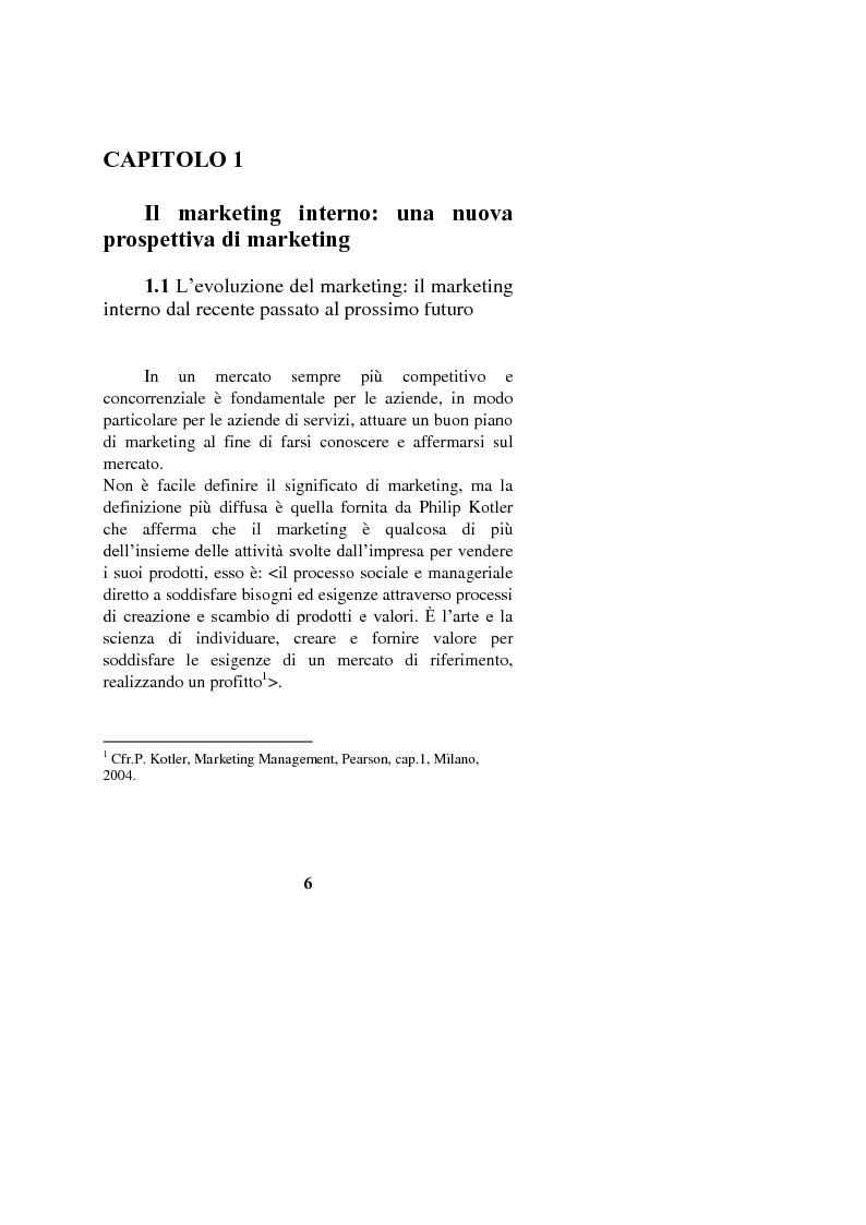 Anteprima della tesi: Il marketing interno nelle aziende di servizi: il caso Banca Intesa-Sanpaolo, Pagina 4