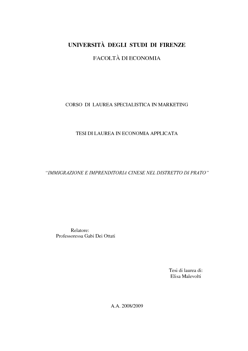 Anteprima della tesi: Immigrazione e imprenditoria cinese nel distretto di Prato, Pagina 1