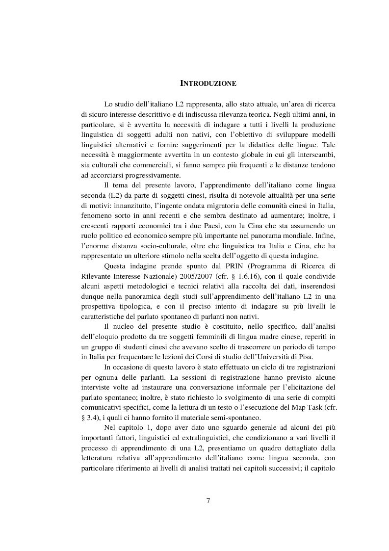 Anteprima della tesi: Strategie di acquisizione nell'italiano dei cinesi, Pagina 2