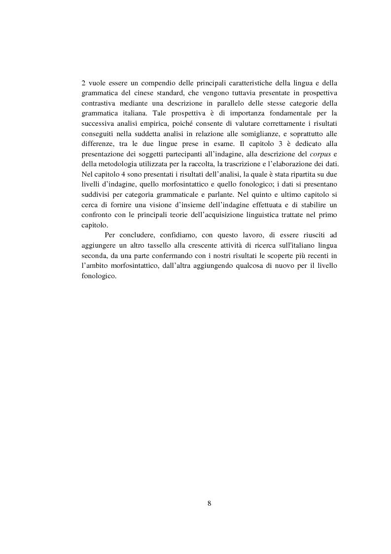 Anteprima della tesi: Strategie di acquisizione nell'italiano dei cinesi, Pagina 3